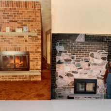 "Ron sent this to me in March with the comment ""Pics of some fireplaces that I built years ago are below (and me!)""  - Karen Abram"