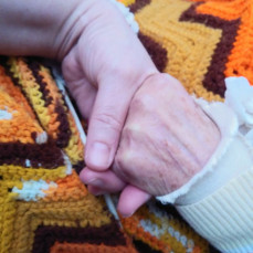 Aunt Dean and I holding hands as we talked about family memories with other relatives that were there about 2 weeks ago. Her hands looked just like her mother's, my grandmother's. - Bobbi Jo Rucker