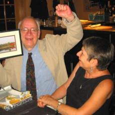 Arthur raising his fist in celebration - UUP retirement party 2007 - Susan Lehrer,