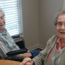 Loretta and Pauline spending time in the dining room at Southridge. Unlike all those years of fixing and serving dinners at the Legion Hall, this time they didn't have to prepare the meal. They were great friends for over sixty years, I'm sure they will enjoy each other's company again, along with Delbert and Lloyd.  Thinking of Linda and the family.  Jerry Kinder - Jerry Kinder