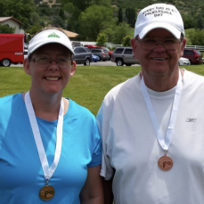 One of my favorite memories with Bill. We won a bronze medal at the Pickleball tournament. - Karen Garbe
