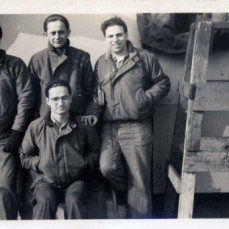 Fred and Sherman with crewmates at Pier 14 NYC in 1946USS Wiltsie Plank holders - Sherman Wolf family
