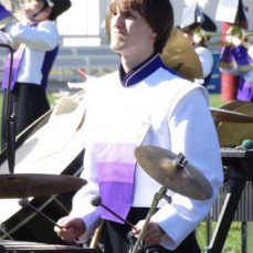 Nick in the front ensemble of the 2015 Muskie Marching Band  - Janet Clark