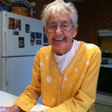 Norma in her Bass Lake kitchen.  She always looked beautiful in yellow. - Terri Sarris