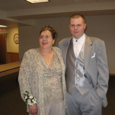Mom with my brother on his wedding day. - Tonja