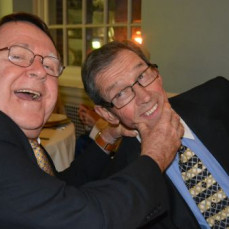 Best of friends Vince and Gerry share a silly moment. - NANCY MOLYNEAUX