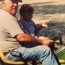 Elli and Grandpa Bob going for a ride - Abby