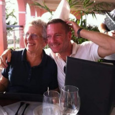 Mom and I goofing around at dinner in St Croix. - Robert Swafford