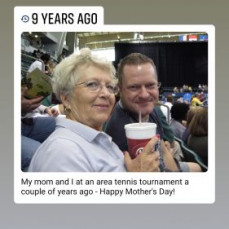 Mom was always game for going to a professional tennis tournament with me! - Robert Swafford