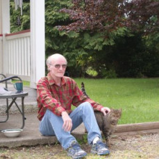 Gary with his cat - his favorite place to sit ;) Front yard - Alicia