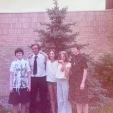 Sister Irene, Sister JP Spencer, Molly Shields And Lisa. Wallenhorst with Roger somewhere around 1974-75 - Jim Anda