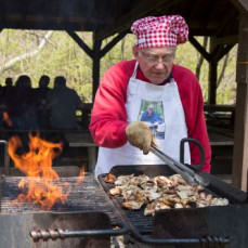 Phil volunteering as 'Grill Master' at our annual Creek CLeanup picnic in 2014 - Wissahickon Trails