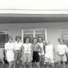 We rode our bikes to Bergman's Dairy for ice cream one lovely summer day, long, long ago.  From left to right, all maiden names, me (Ruthie Parrish), Cherie Roadman, Kathy Maus, Reenie (Irene) Cramer, Judy, Charlene Chamberlain, and Sandy Ankney. - Ruthie Richardson