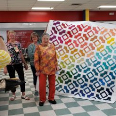 G.g. won this quilt from a show she attended in February 2020 and was able to pick it up on her trip the week of April 12, 2021. - Patty VanderWall