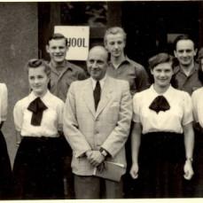 Rehden 1950 - First row from left: Jankowska, Alina Mikolowicz, Wlodzimierz Stankiewicz, (HS Principal) Ewa, Helena Durska ; Second row: Jozef Winkler, Kostek Krylow, __X__ - KONSTANTY and ALINA KRYLOW